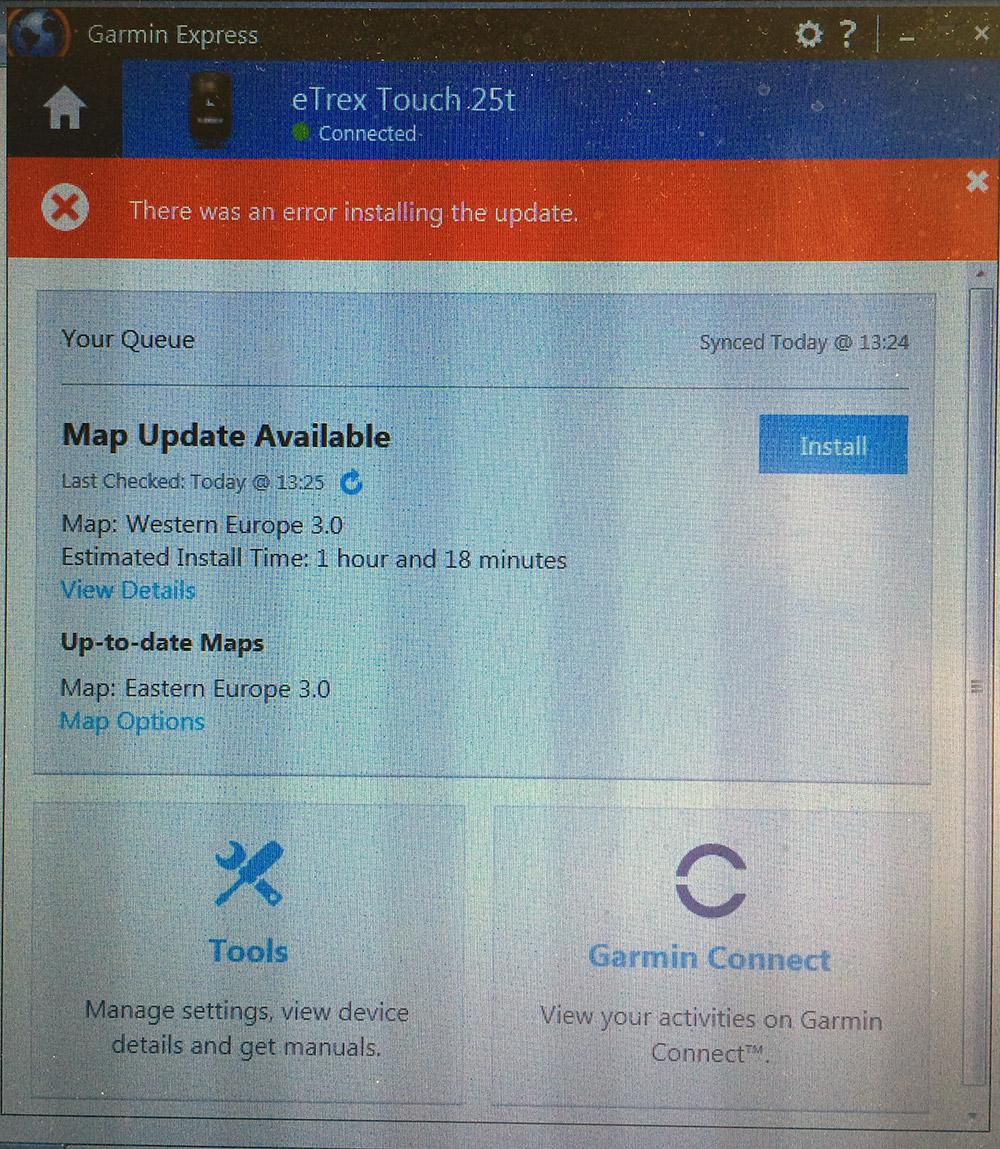 Garmin eTrex 25T Not Taking Maps Update - GPS - Geocaching